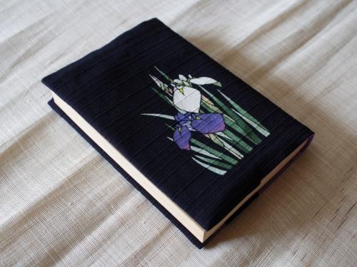 藍染手描きブックカバー 菖蒲(アヤメ)