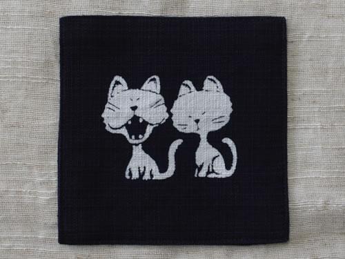 藍染コースター 猫(ネコ)