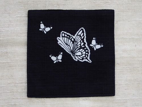 藍染コースター 蝶(チョウ)