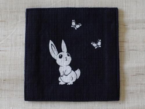 藍染コースター うさぎ(ウサギ)