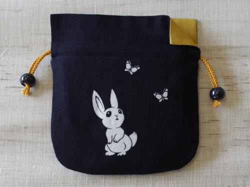 藍染巾着 うさぎ(ウサギ)