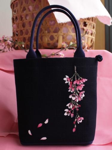 藍染手提げバッグ(小) 桜(サクラ)