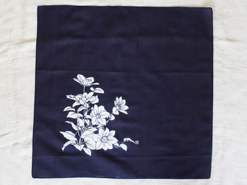 藍染ハンカチ 鉄線(テッセン)