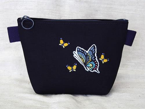 藍染化粧ポーチ 蝶(チョウ)