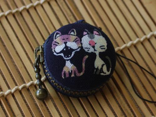 藍染マカロンコインケース 猫(ネコ)