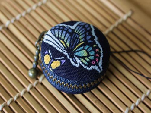 藍染マカロンコインケース 蝶(チョウ)