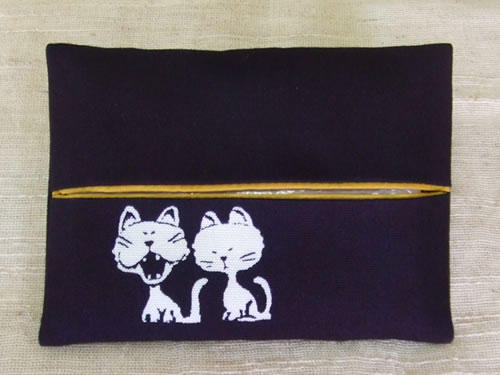 藍染ティッシュケース 猫(ネコ)