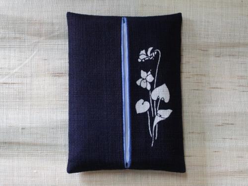 藍染ティッシュケース 菫(スミレ)