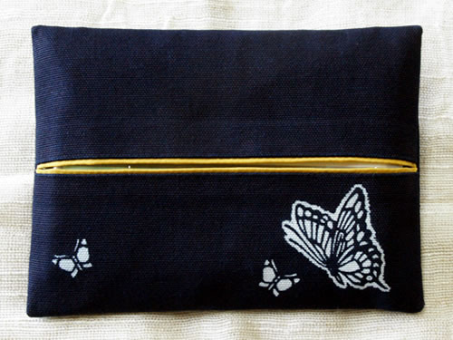 藍染ティッシュケース 蝶(チョウ)