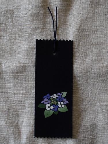 藍染手描きしおり 紫陽花(アジサイ)