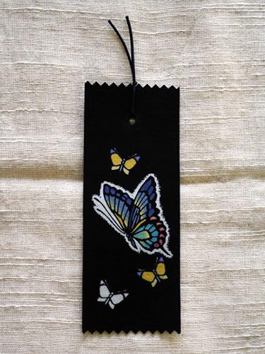 藍染手描きしおり 蝶(チョウ)