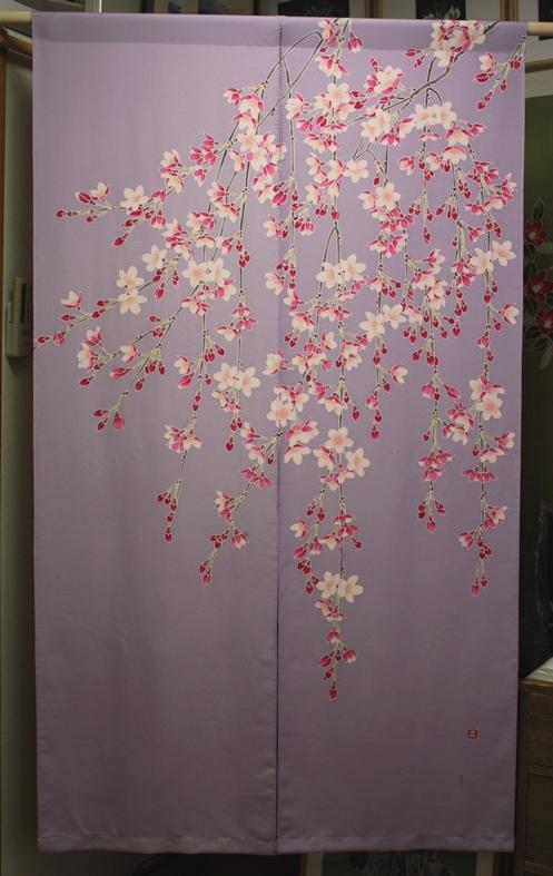枝垂桜正絹暖簾